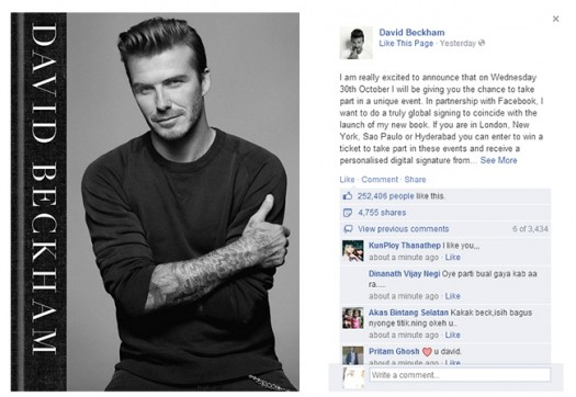 David Beckham firma digital de libros mediante facebook